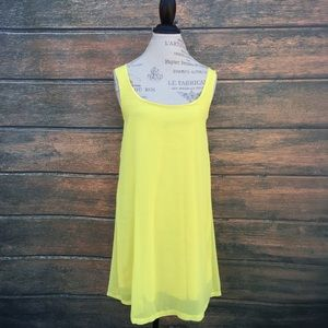 Yellow boutique lined sheer tunic dress